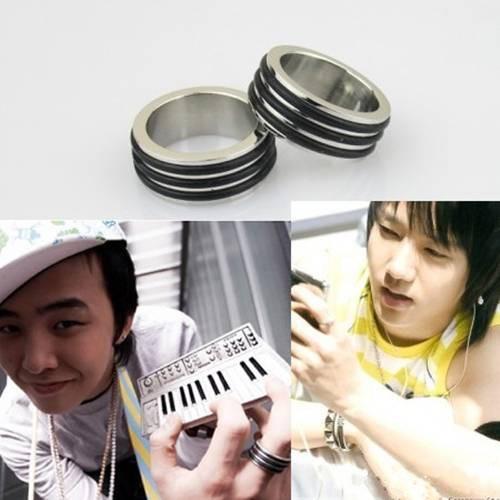 [Bayar Di Tempat]Fashion KPOP Star Titanium Steel Black Stripes Ring Cincin