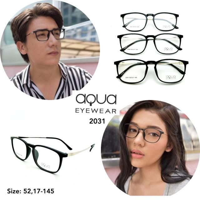 Frame kacamata Original + Lensa Minus silinder Kacamata kotak oval lentur Aqua 2031 Murah