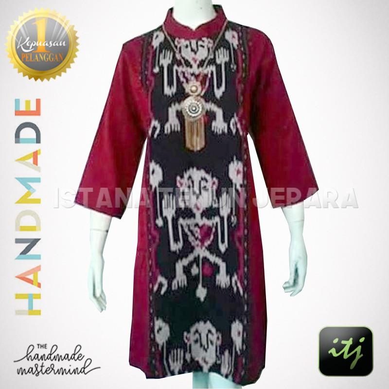 Dress Tenun Motif Asmat Troso Jepara Kombinasi Shopee Indonesia