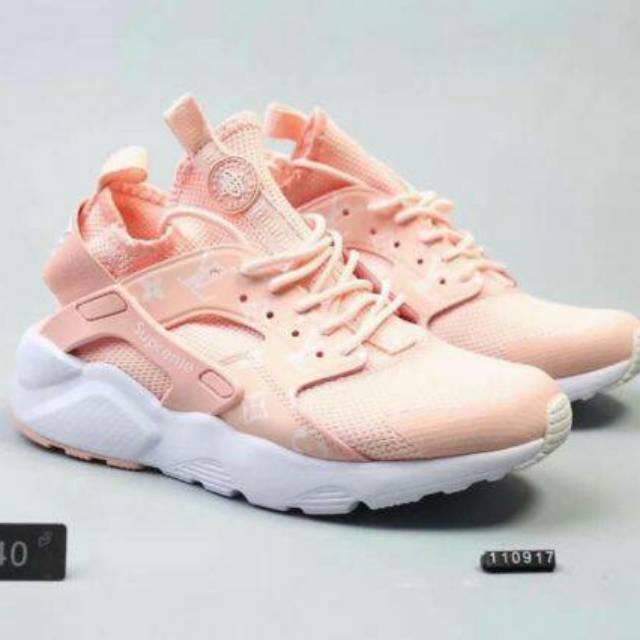 Nike Huarache x LV Pink Peach - Sepatu wanita Nike Huarache murah