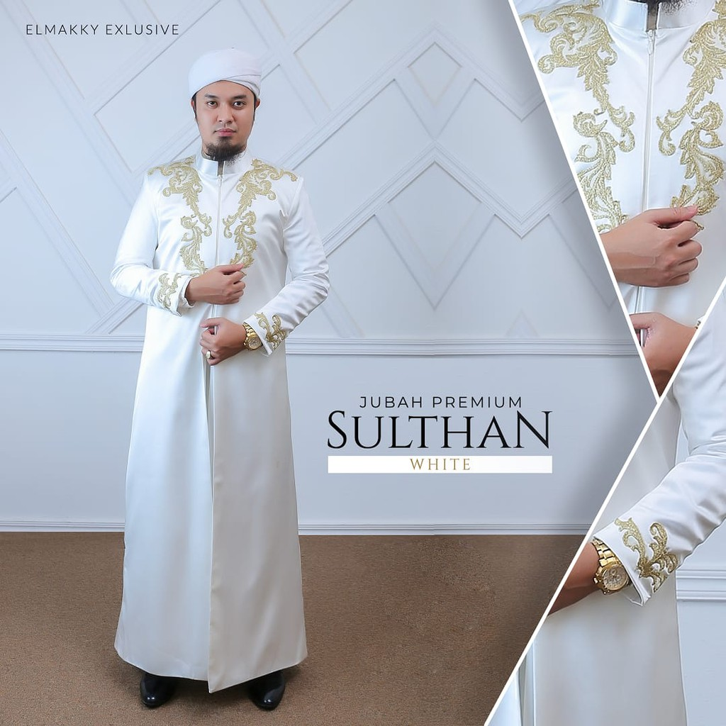 JUBAH PREMIUM SULTHAN WHITE BY ELMAKKY EXCLUSIVE  GAMIS PRIA JUBAH PRIA  JUBAH GAMIS PENGANTIN