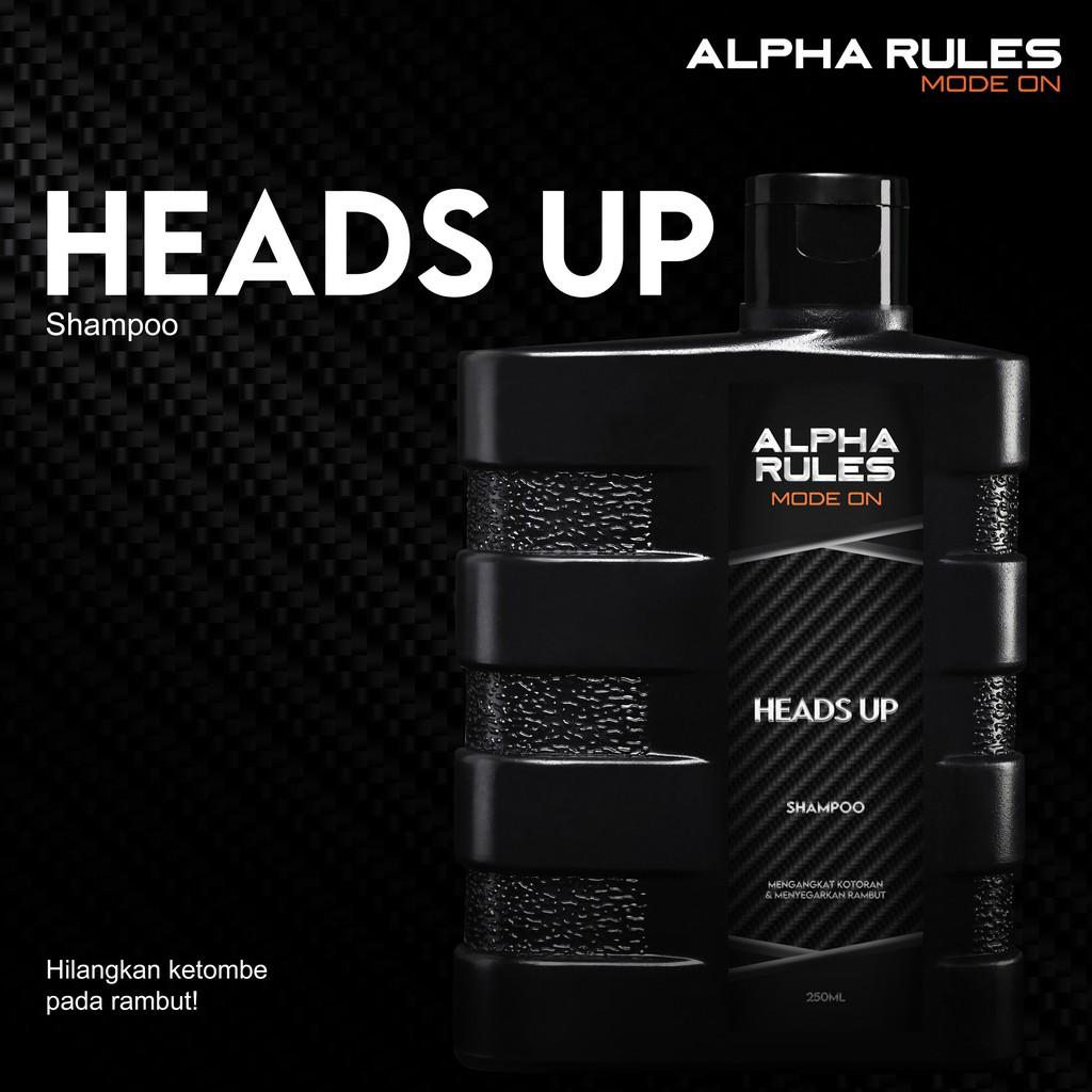 ORIGINAL Alpha Rules Heads Up 250 ml Shampo rambut anti ketombe pria bersih-1