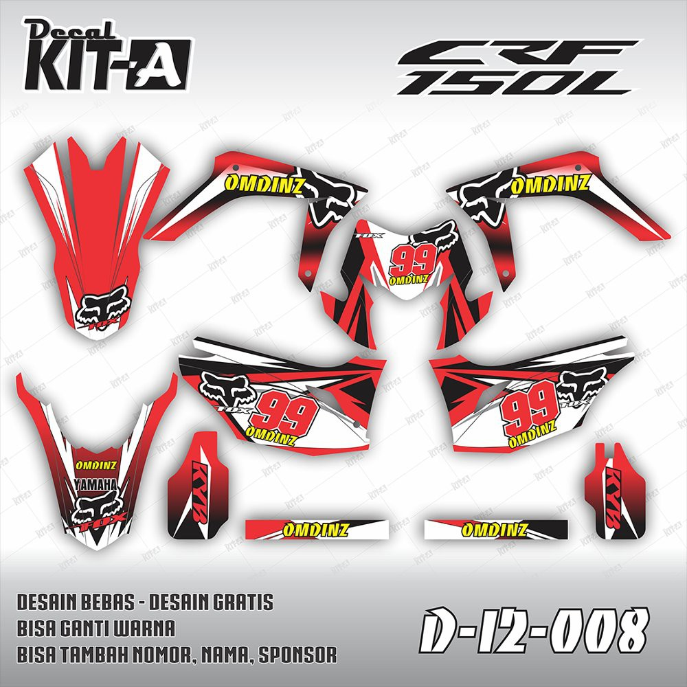 Decal stiker crf 150 l custom full body dekal sticker striping crf 150 l d i2 008 berkualitas