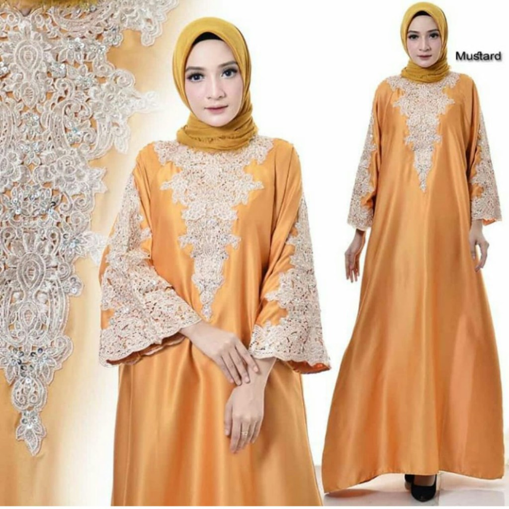 Gamis Kaftan Full Bordir Bahan Satin Warna Kuning Mustard All Size ...
