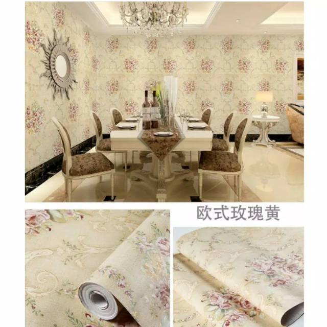 5 Meter Wallpaper Sticker Wallpaper Dinding Motif Shabby Cream Termurah