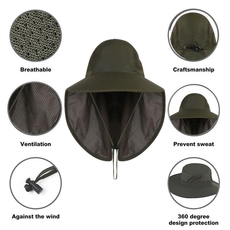 Hunting Fishing Hiking Boonie Snap Hat Brim Ear Neck Cover Sun Flap Cap