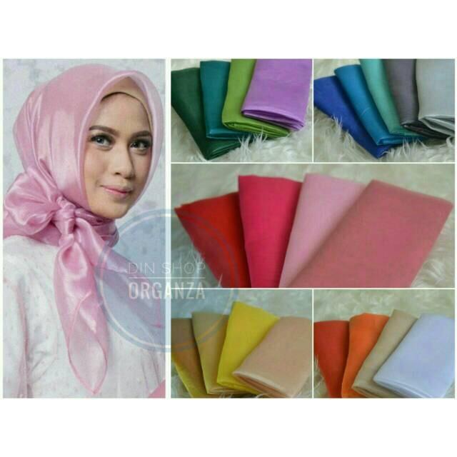Segiempat orgaza Organza square /hijab organdi/ jilbab kaca/ | Shopee Indonesia