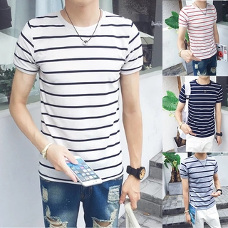 students'class clothes, clothes men's T-shirts, striped slim men's and Men's and couples' simple and fashionable short clothes sleeve women's fashionable