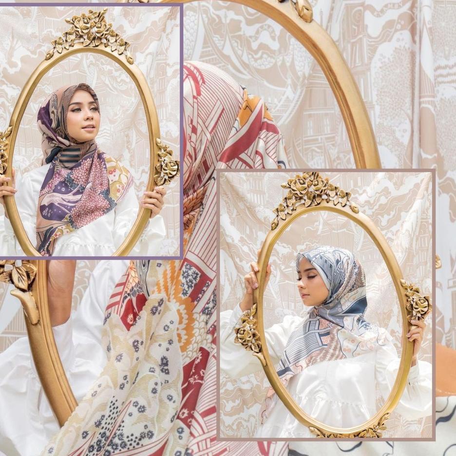 Original  Hijab Segi Empat Motif Termurah / Hijab Lasercut Voal Motif Berkualitas / Denay KW Series
