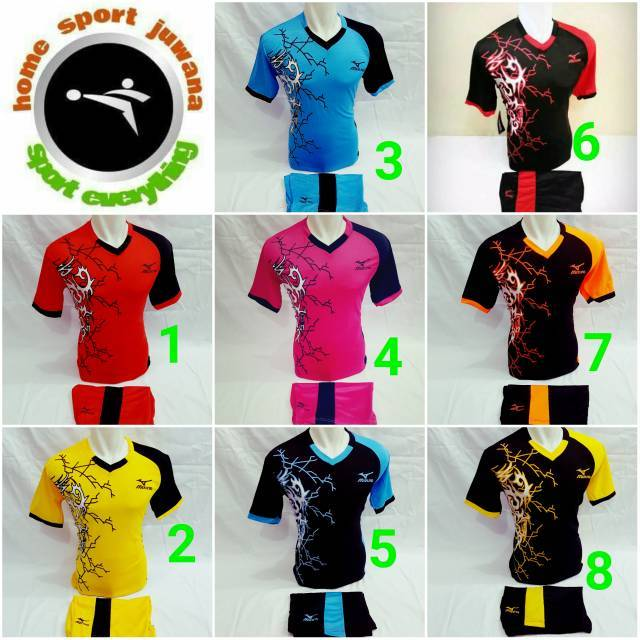 Baju Kaos Setelan Olahraga Jersey Volly   Baju Voli Mizuno Motif Sayap  Burung   Kostum Volleyball  90f68b334d