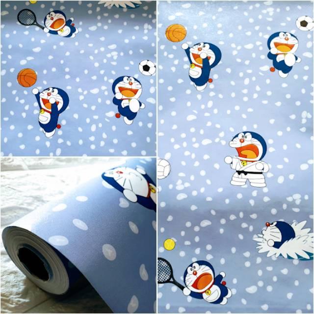 Grosir Murah Wallpaper Sticker Dinding Biru Motif Doraemon Salju