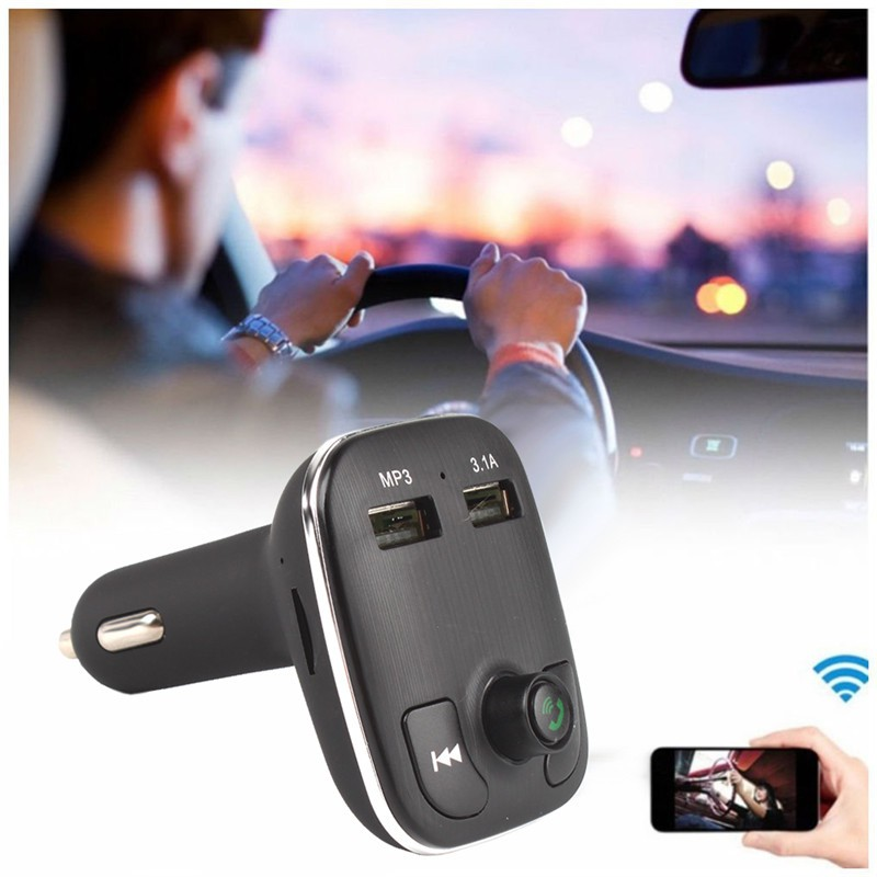 Hands-Free Bluetooth FM Transmitter 5V 3.1A Dual USB Car Charger MP3