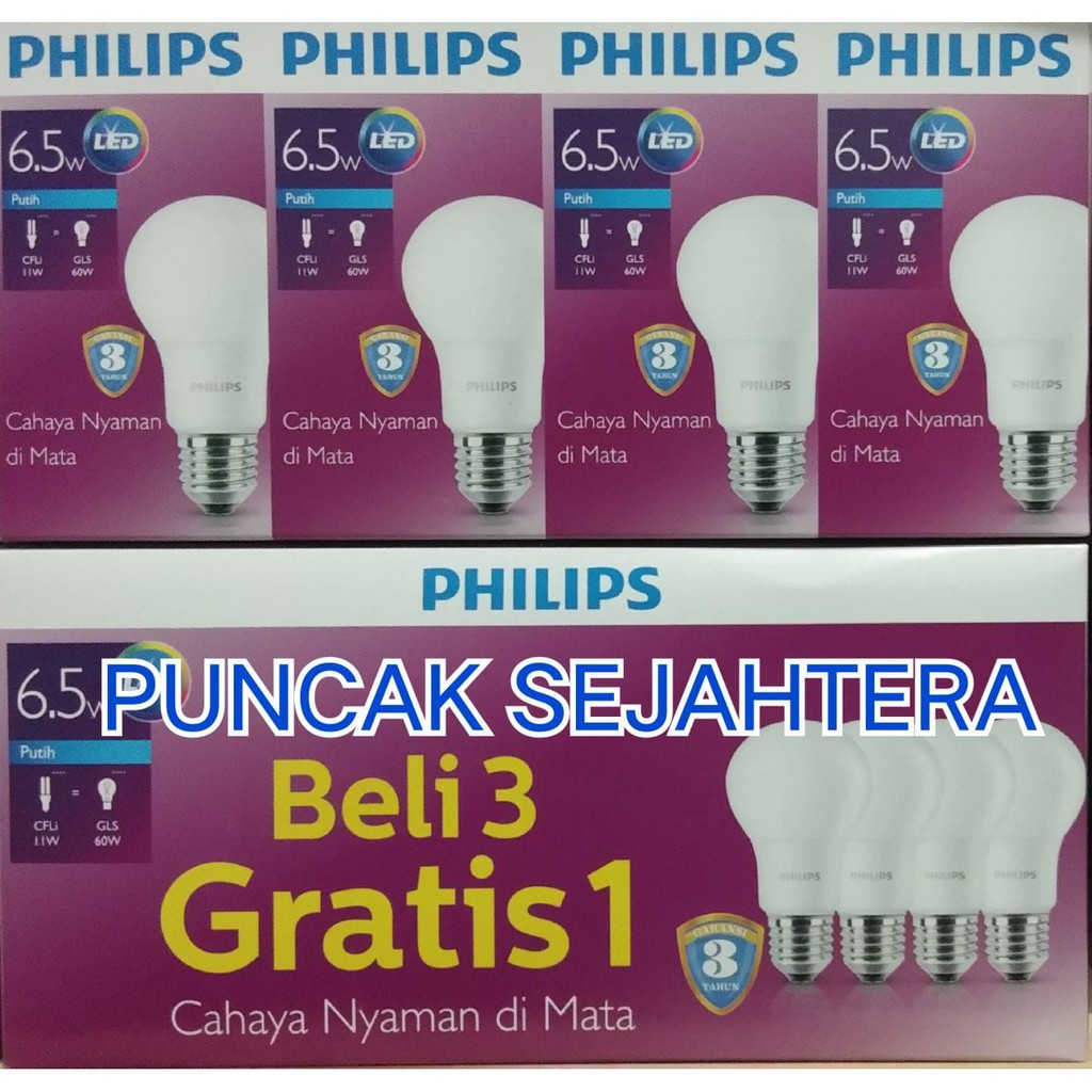 Philips Lampu Led Bulb 65w 60w Paket Beli 3 Gratis 1 Cahayanyaman Di 13 Watt 6500k C 65 Philip W Putih