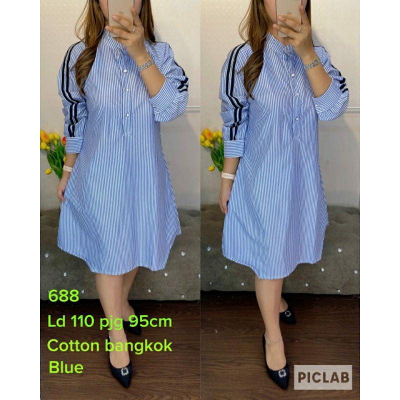 688 Tunik salur cotton bangkok blue