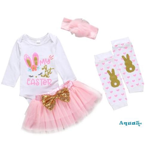 My 1st Easter Outfit Baby Girl Bunny Letters Romper+Tutu Dress+Headband+Rabbit Leg Warmers 4pcs Clothes Set