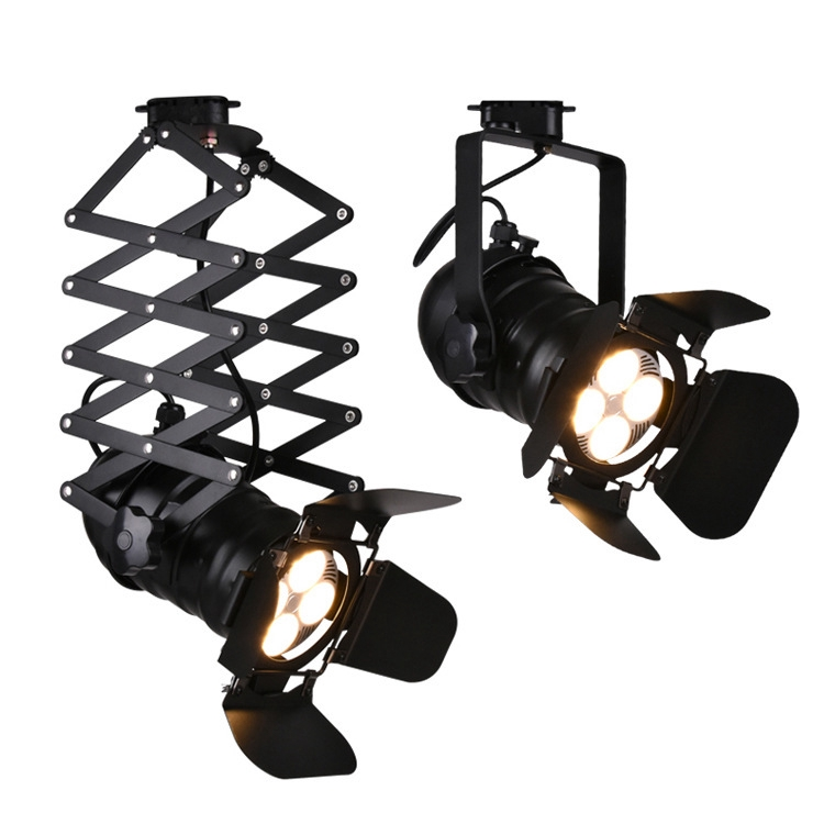Led Vintage Industrial Spotlight Rail 4blades Spotlight Track Lamp For Clothes Store Shop Lighting Shopee Indonesia