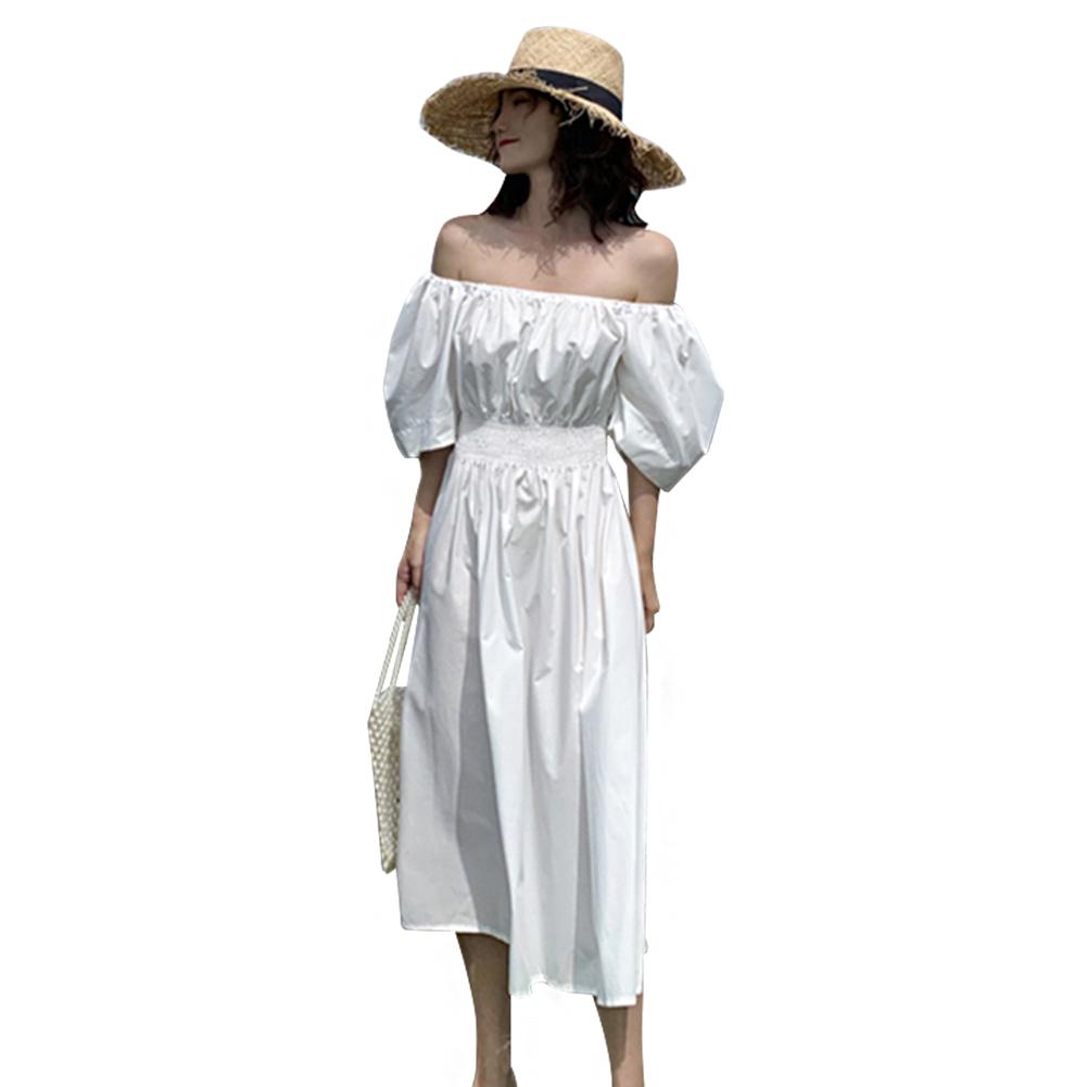 Solid Midi Fashion A Line F Shoulder Short Sleeve Fairy