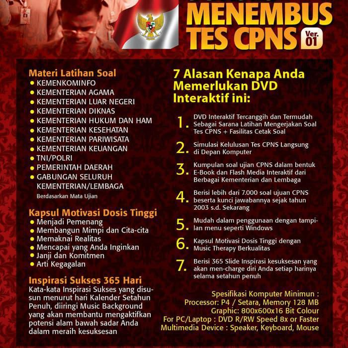 Dvd Sukses Tes Soal Ujian Cpns Casn Shopee Indonesia