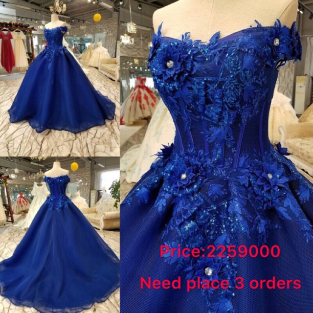 Customize Luxurious Royal Blue Lace Flower Wedding Bridal Gown Evening Dress