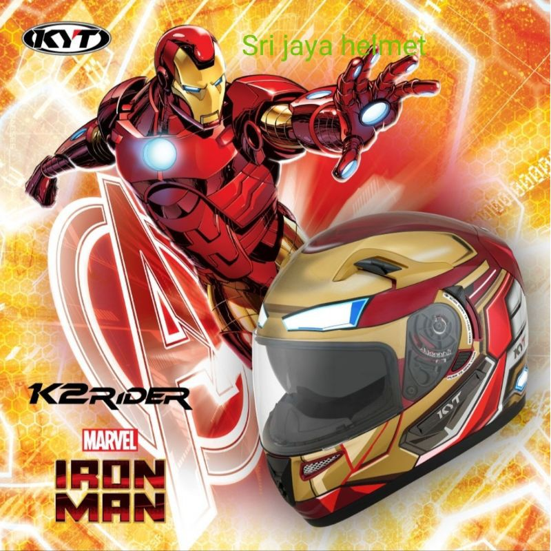 HELM KYT K2 RIDER IRON MAN RED GOLD LIMITED EDITION ONGKIR 2KG