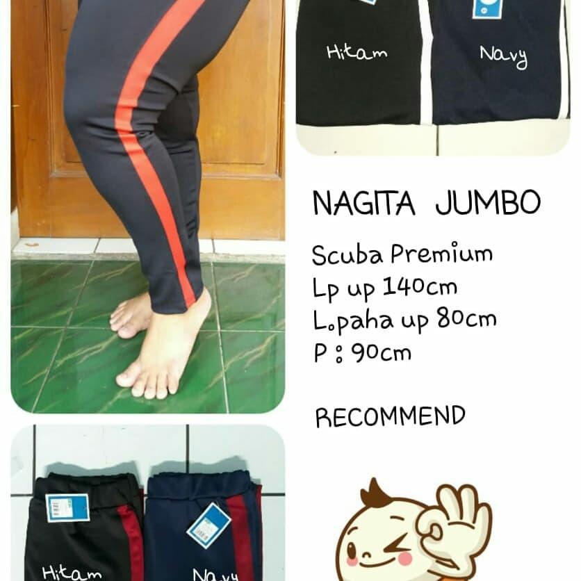 Celana Panjang Jumbo Panjang Bigsize Legging Jumbo Nagita Stripe Scuba Shopee Indonesia