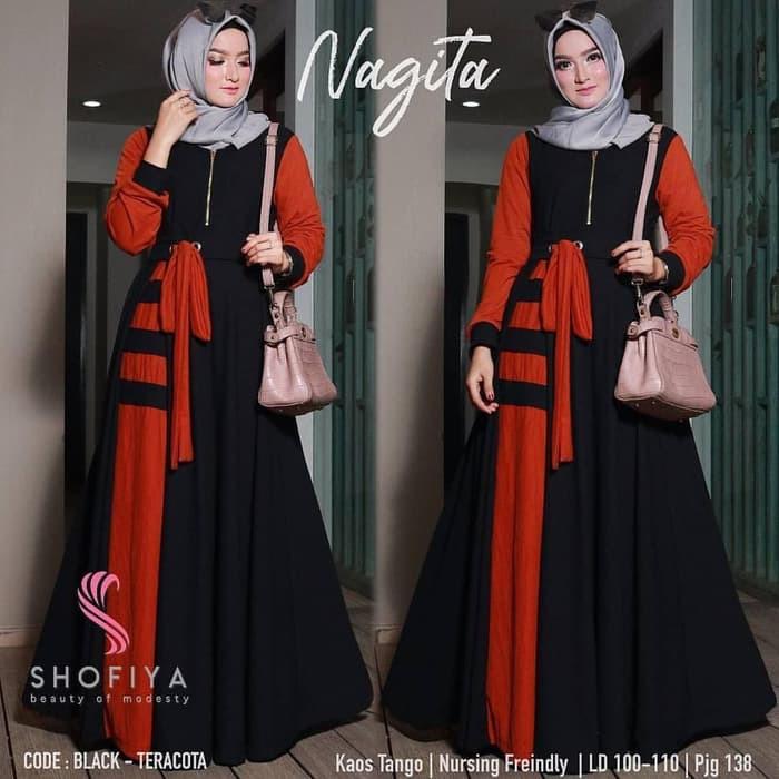 Baju Gamis Syari Balotelli Wanita Muslim Terbaru Nagita Dress Termurah Shopee Indonesia