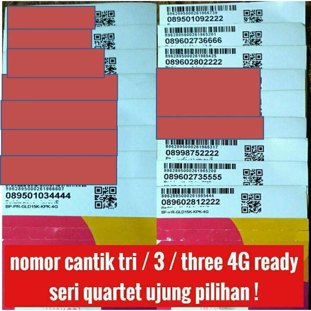 nomer cantik tri / 3 / three 4G lte nomor cantik quartet kartu perdana | Shopee