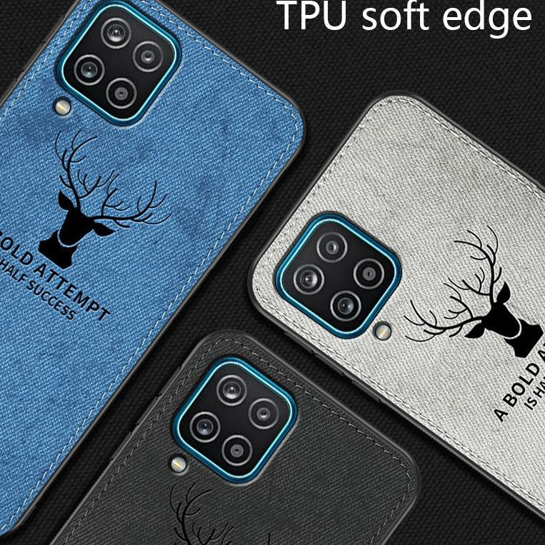 [KODE W9899] Case Samsung A12 Cloth Leather Deer Case Premium Softcase Casing