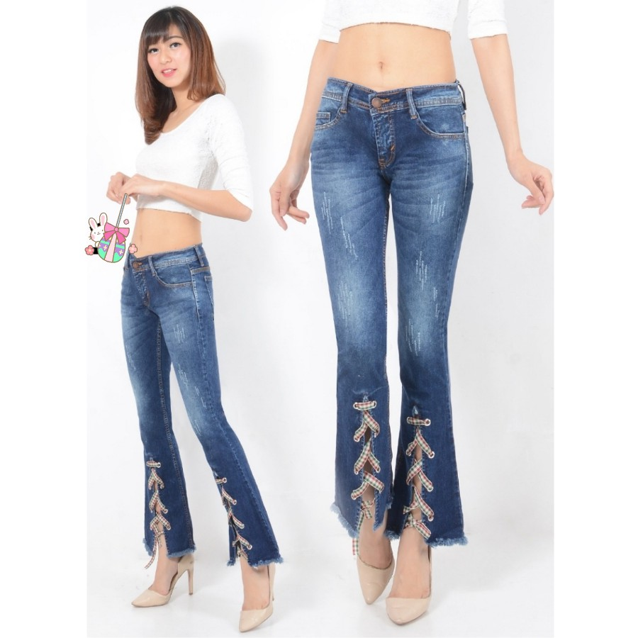 Celana Cutbray Jeans Wanita - Cutbray Ribbon Dark Elegan Maz 6801   Shopee Indonesia
