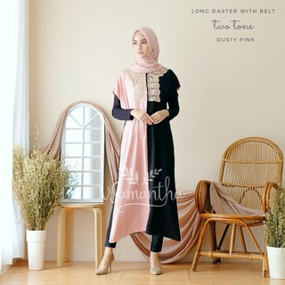 vSamantha - Long Daster With Belt Twotone Rayon