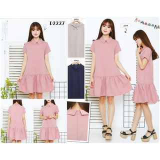 Baju casual collar midi dress berkerah pergi jalan santai fashion trend cewek  wanita murah -2227 c33bbeb2d8