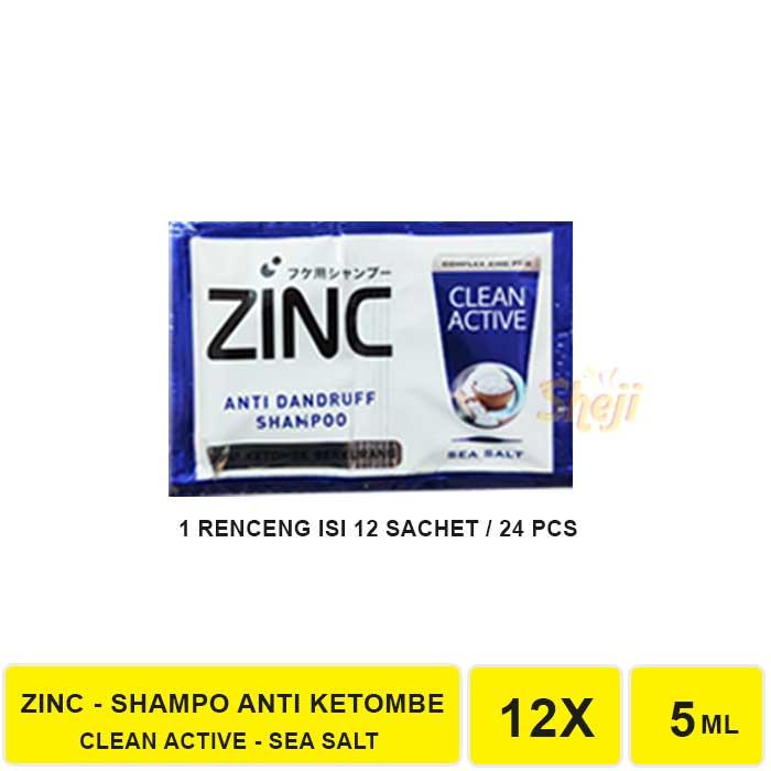 VS. SHAMPO ZINC SACHET 1 RENCENG ISI 12 SACHET / SHAMPO ANTI KETOMBE ZINC-ZINC BIRU