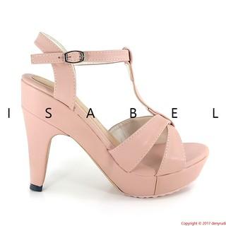 Isabel T STRAP Sepatu Wanita Hak Tinggi Platform High Heels Peach Pink.