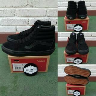 7c5f211d770 Sepatu Vans Sk8 Skate Hi High Full All Triple Black Hitam Polos - Original  PREMIUM Waffle DT BNIB