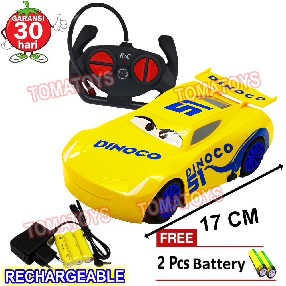Tomatoys Rc Cars Rechargeable Mainan Anak Mobil Remot Control Cars Mcqueen Dinoco Free 2 Baterai Shopee Indonesia