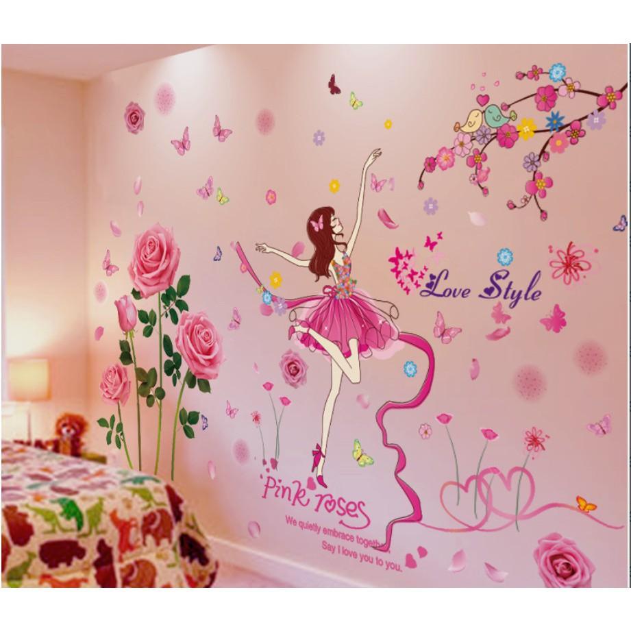Stiker Dinding Dengan Bahan Mudah Dilepas Dan Gambar Anak Perempuan Untuk Dekorasi Kamar Anak
