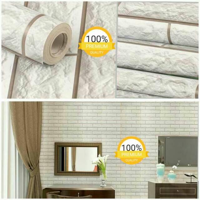 Wallpaper sticker dinding ruangan kamar termurah batu bata