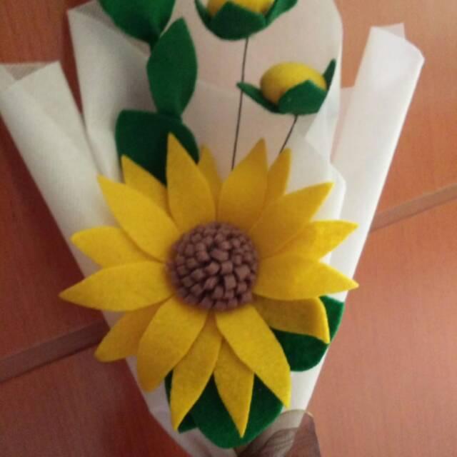 Hanami Sunflower Bouquet Buket Bunga Matahari Bahan Kain Felt Kain