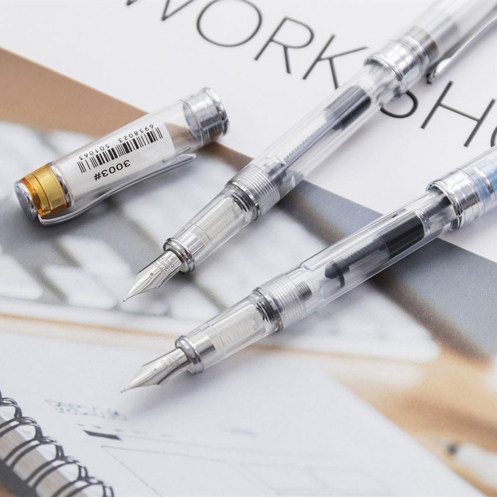 Transparent Fountain Pens Fine Nib Screw Cap Writing Tool 0.5mm Ink Pen Kid Gift