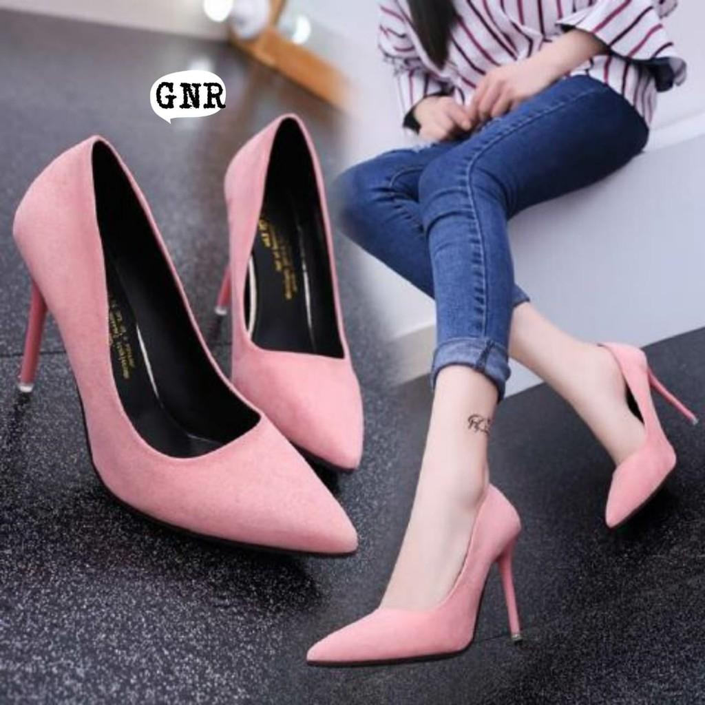 Ribbon Heels Shoes Barbie Suede Super Cute Swett Red Black Mm Nuku Manila Maroon 38 Hls38 Shopee Indonesia