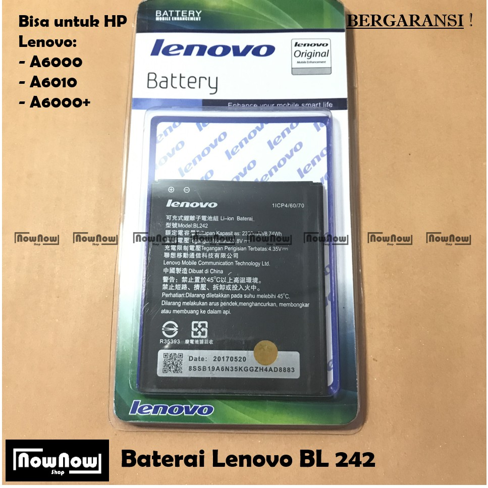 Baterai Lenovo A6000 A6010 A6000 Bl242 Original Batre Battery