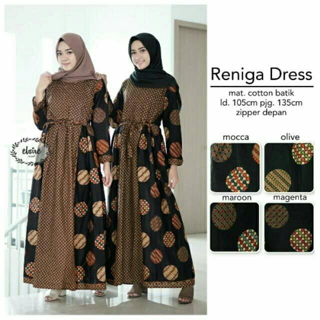 Model Busana Muslim Batik Kombinasi Polos Hijabfest