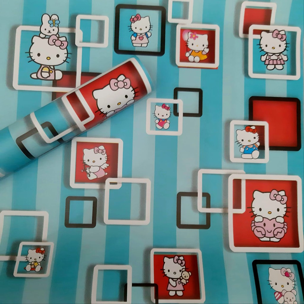 Wallpaper Sticker Dinding Motif Hello Kitty Biru Kotak WPS730A Wallpaper Sticker Kamar Tidur Anak