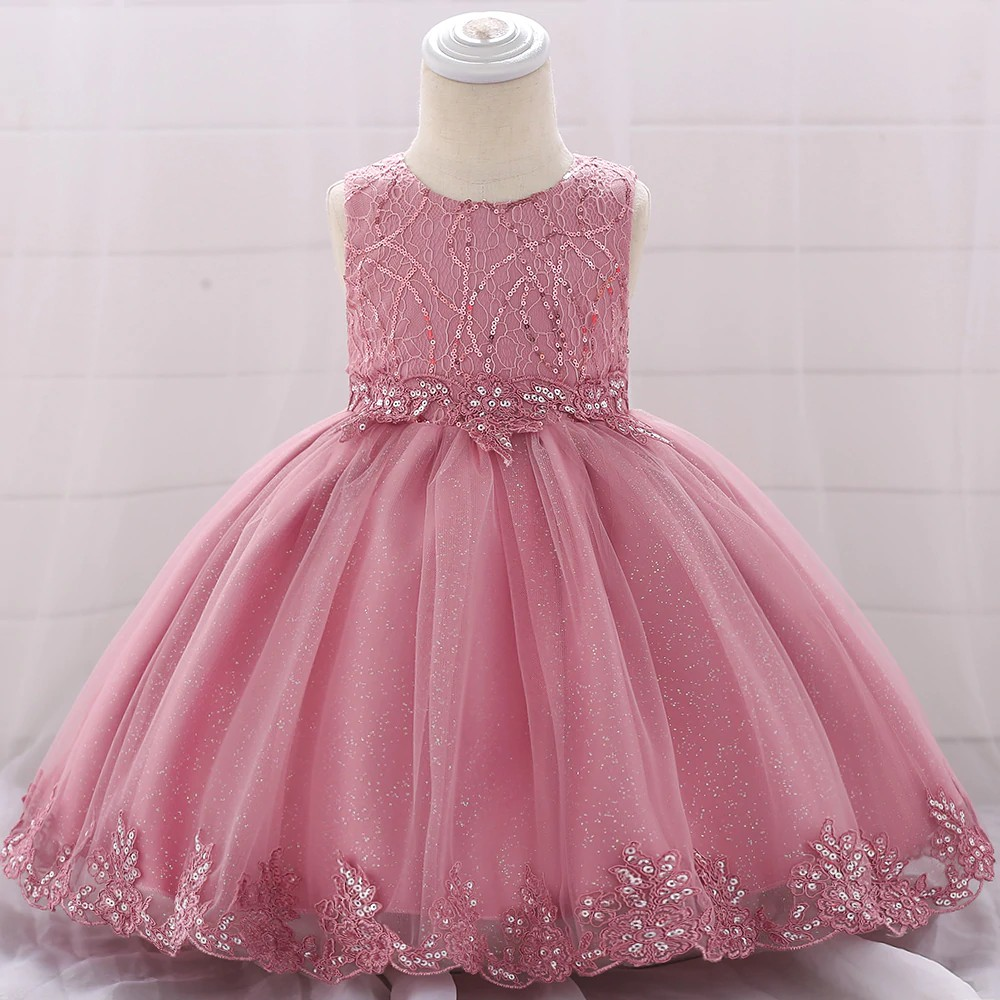 Newborn Applique Sequined Lace Party Girl Dresses Girls Ball Gown Dress Kid  Baptism Floral Party