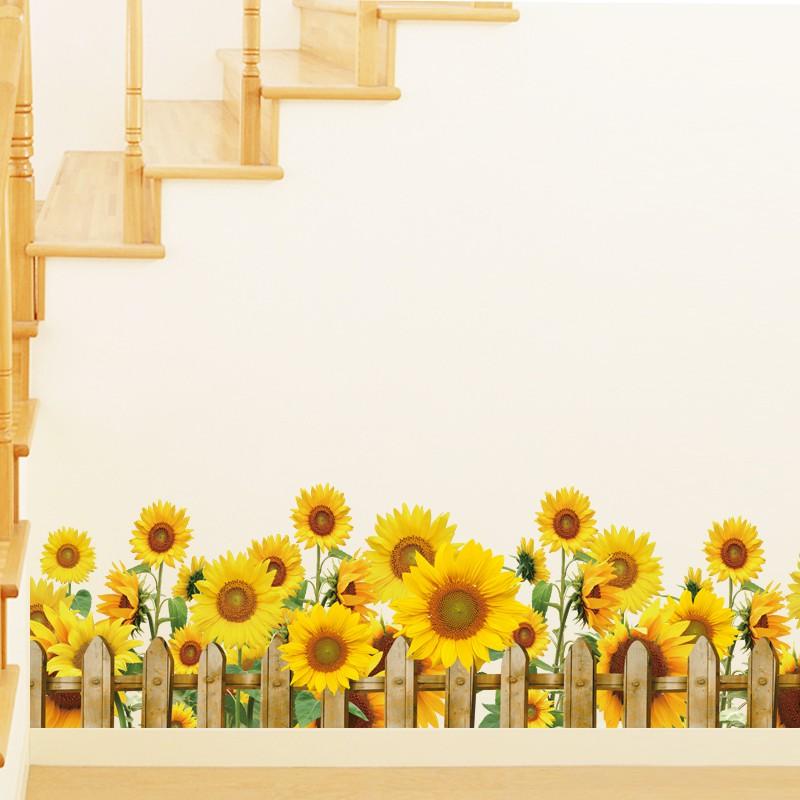 Bunga Matahari Tk Stiker Dinding Skirting Stiker Garis Sudut Stiker Garis Pinggang Tata Letak Kelas Hiasan Dinding Lukisan Bunga Shopee Indonesia