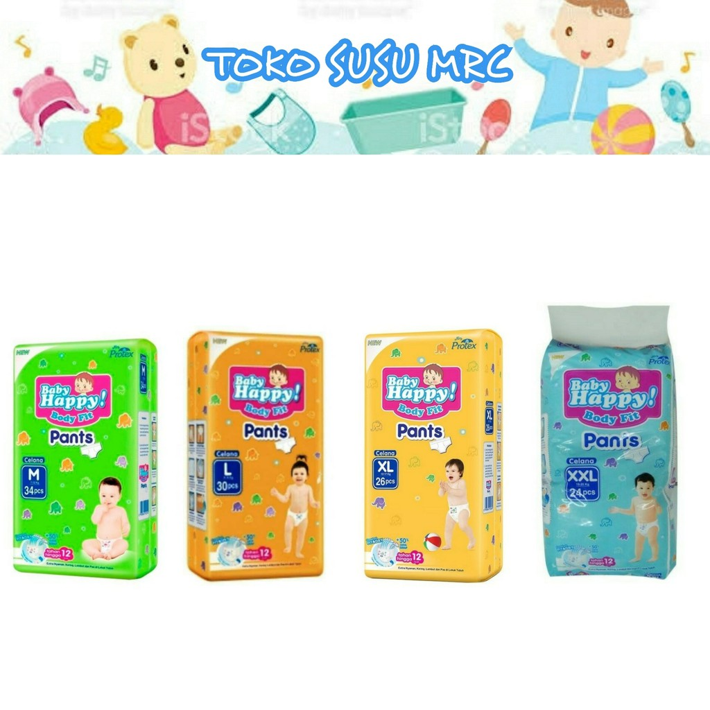 BABY HAPPY PANTS M 34 & L 30 CELANA POPOK DIAPERS BODY FIT | Shopee Indonesia