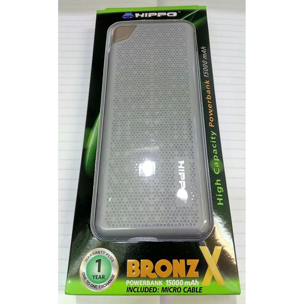 HIPPO Powerbank Bronz X 15000 mAh -WHITE- Garansi 1 Tahun Resmi GREY