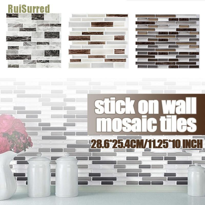 Ruisurred 3d Tile Self Adhesive Kitchen Backsplash Wall Sticker Waterproof Wallpaper New Shopee Indonesia