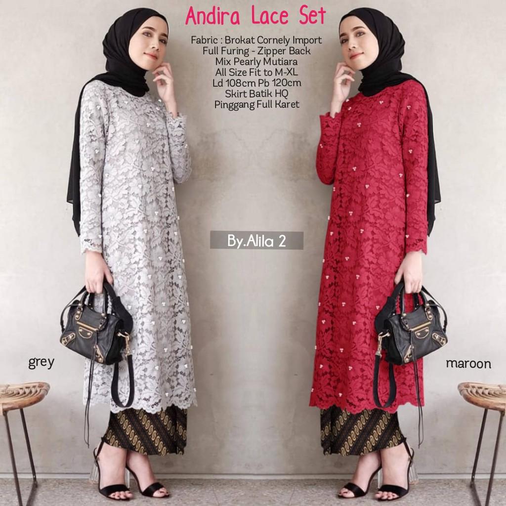 Andira Lace Long Set Ld100 Allsize Tunik Tunic Brukat Ori Cantik Kondangan Kekinian Ootd Murah All2