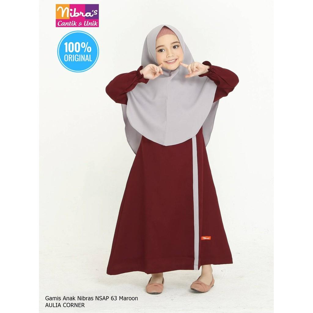 Grosir Baju Gamis Anak Terbaru Nibras Nsap 9 Maroon ORIGINAL Gamis Untuk  Wanita Gemuk